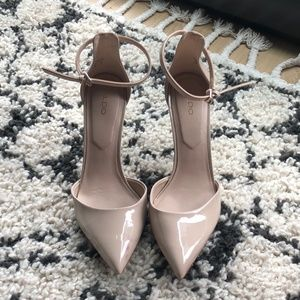 Aldo | Nude Pumps with Gold Heel and Ankle Straps
